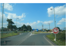 This is the main roundabout that is used to go to different places on the Akritiri (Peninsula).