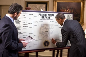 President Obama filling out his bracket on national television. (Credit: Pete Souza, Public Domain)